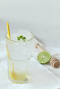Glass of honey lime soda drinks Royalty Free Stock Image