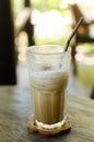 Glass ice cappuccino coffee