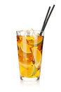 Glass of ice tea with lemon and lime Royalty Free Stock Photo