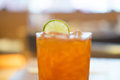 Glass of Iced lemon tea cold drink Royalty Free Stock Photo