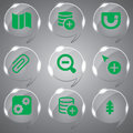 Glass icons set green vector best color for web design Royalty Free Stock Photo