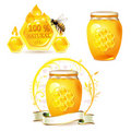 Glass jar with honey Royalty Free Stock Photos