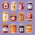 Glass jar with with jam configure or honey vector illustration packaging