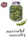 Glass jar of marinated cucumbers