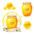 Glass jar med honung 库存图片