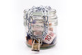 Glass jar with money and chain locked Royalty Free Stock Photo