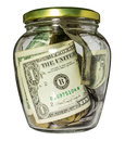 Glass jar with money Royalty Free Stock Photo