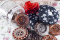Glass jar neddle case buttons fabric Stock Photo
