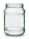 Glass jar open empty on white Stock Photography