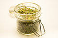 Jar with oregano Royalty Free Stock Photo