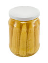 Glass jar preserved ecological corn ears isolated Royalty Free Stock Photo