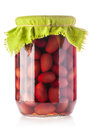 Glass jar with purple olives Royalty Free Stock Photo