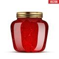 Glass Jar with strawberries jam. Royalty Free Stock Photo