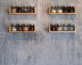 Glass Jar on wood shelves on wood concrete Royalty Free Stock Photo