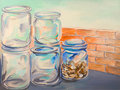 Glass jars oil painting Royalty Free Stock Photo