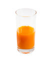 Glass of juice orange on a white background Royalty Free Stock Image