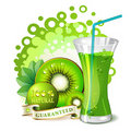 Glass of kiwi juice Royalty Free Stock Photo