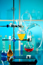 Glass laboratory apparatus with liquid samples Stock Photography