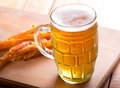 Glass of lager beer with foam Royalty Free Stock Image