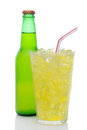 Glass of Lemon Lime Soda with Drinking Straw Royalty Free Stock Image