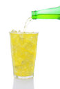 Glass of Lemon Lime Soda with Pour Stock Image
