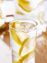 Glass of lemonade closeup Royalty Free Stock Photo