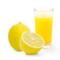 Glass of lemonade isolated on white Royalty Free Stock Photo