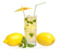 Glass of lemonade with lemon and mint isolated on white background Stock Photography