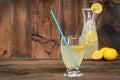 Glass of lemonade on wood