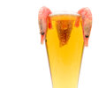 Glass of light beer and shrimp on a white background lager fresh boiled close up horizontal photo Stock Photo