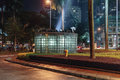 Glass light control room of Twin Towers at night in Kuala Lumpur, Malaysia Royalty Free Stock Photo