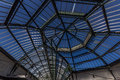 Glass and metal roof structure large domed with opening windows Royalty Free Stock Images