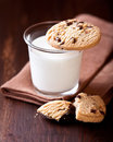 Glass of Milk and Chocolate Chip Cookie Royalty Free Stock Photography