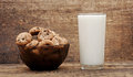 Glass of milk and chocolate chip cookies Stock Photography