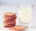 Glass of milk and crackers Royalty Free Stock Photo