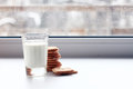 Glass of milk and crackers diet Royalty Free Stock Photo