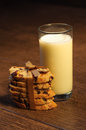 Glass of milk with raisin cookies Royalty Free Stock Image