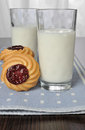 Glass of milk with shortbread biscuits jam Royalty Free Stock Images