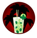 Glass of mojito on the background silhouettes palm trees Stock Photos