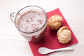 Glass mug with hot chocolate and cookies Stock Images