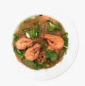 Glass Noodles steamed with Prawns Stock Photography