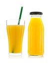 Glass of orange juice and orange juice bottles isolated on whit