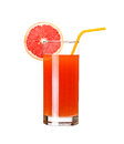 Glass of pink grapefruit juice isolated on white Royalty Free Stock Photo