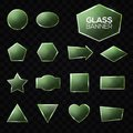 Glass plates set. Green triangle square star heart Royalty Free Stock Photo