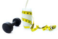 Glass protein rich milk exercise dumbbell measuring tape Stock Photography