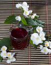 Glass of the red tea decorated with flower branches Royalty Free Stock Photo