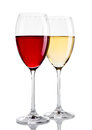 Glass of red and white wine on white Royalty Free Stock Photo