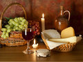 Glass of red wine , grapes and cheese Royalty Free Stock Image