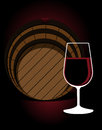 Glass or red wine with an oak cask stylised illustration a in front of in a cellar nightclub restaurant pub Stock Photos