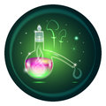 Glass retort with magic potion